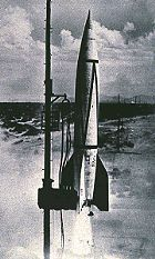 The first American-built rocket to leave the earth's atmosphere (the WAC) was launched on March 22, 1946. It was launched from White Sands, and attained 50 miles of altitude.