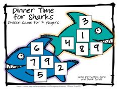 Division Board Game from Games 4 Learning - Cute sharks help them chomp through their division facts! !