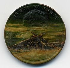 A Pile of Burnt Wood, 1983 oil on penny    http://jacquelinelouskaggs.com/section/192725_Tondi_observations.html