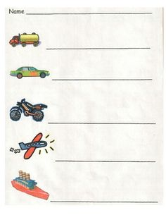 A printable page that gives the children 5 transportation words to write (truck, car, motorcycle, airplane, and boat). Teachers simply make a copy before hand and write in the words for the children to copy.   Preschool Pre-K Kindergarten   Please buy and download from my TeachersPayTeachers site. All $ donated to Make-A-Wish and The Dream Team Project!