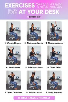 Moving throughout your day is CRUCIAL to seeing results! This mini workout activate your muscles and relieve tension! Walk The Weight Off, Desk Workout, Posture Correction, Crunches, You Can Do, Abs, Exercise, Fitness, Muscles