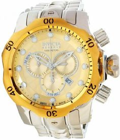 Invicta Reserve Men's Venom Swiss Made Quartz Chronograph Champagne Dial Watch Invicta. $510.00. Water Resistant up to 3300 feet. Swiss Ronda 5040.D Quartz Chronograph. Flame Fusion Crystal. 52mm Case. Champagne Sunray Dial