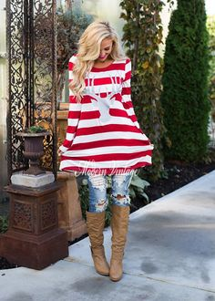 (Pre-Sale) It's Beginning to Look a Lot Like Christmas Striped Tunic Red/White - Modern Vintage Boutique