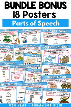 Your students will love these Parts of Speech independent practice worksheets! And you will love their quiet engagement! These 4 Seasons-themed color by code worksheets are easy activities for your kids to do independently or in language arts stations. There are 48 different spring color by code pages including: Nouns, Verbs, Pronouns, Adjectives Grammar Activities, Grammar Worksheets, Kids Learning Activities, Learning Resources, Fun Learning, Primary Classroom, Elementary Teacher, Elementary Schools, Classroom Ideas