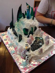 first frozen cake, with olaf and american frosting