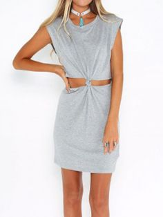 Gray Short Sleeve Open Belly Dress