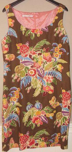 Maggy London L XL Brown Floral 100% Cotton Sleeveless Dress Empire Waist EUC…