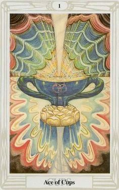 Ace of Cups, Thoth Tarot. The powerful Thoth Tarot deck was designed by Aleister Crowley, an influencial and controversial occultist of the early century. He worked on the deck from 1938 to Aleister Crowley, The Hierophant, Tarot Card Meanings, Tarot Readers, Oracle Cards, Tarot Decks, Deck Of Cards, Tarot Cards, Occult