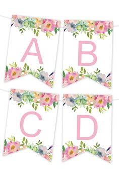 Pink Floral Printable Banner - Chicfetti within Free Bridal Shower Banner Template - Best Professional Template Happy Birthday Banner Printable, Birthday Banner Template, Free Printable Banner Letters, Templates Printable Free, Happy Birthday Banners, Free Printables, Party Printables, Birthday Signs, Printable Alphabet