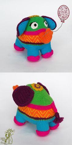Amigurumi Pattern. Crochet Elephant. Happy Elly. Positive crochet Toy. Knitted Elephant tutorial. Yarn-bombing. Colorful amigurumis
