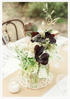 Non Floral Wedding Centerpieces Idea, leaves and wheat Farm Wedding, Wedding Table, Rustic Wedding, Wedding Reception Decorations, Wedding Centerpieces, Centrepieces, Ikebana, Pretty Flowers, Wild Flowers