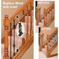 Stair Makeover Replacing Wood Balusters with Wrought Iron Balusters Stairs Makeover balusters iron Makeover replacing stair Wood Wrought Staircase Railings, Wood Stairs, Bannister, Iron Spindle Staircase, Banister Ideas, Painted Staircases, Staircase Design, Stairways, Wood Balusters