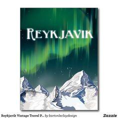 Reykjavik Vintage Travel Poster Postcard