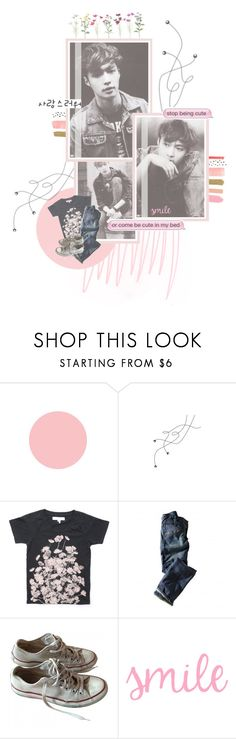 """""""The boy with the pink nose and the pink cheeks carried my heart in his little pink backpack"""" by doodlelou ❤ liked on Polyvore featuring Rittenhouse, Levi's, Converse, men's fashion and menswear"""