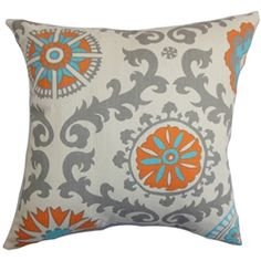 Unique and fun, this accent pillow brings a dose of energy to your living space. Geometric patterns in blue, orange, white and gray adorns this throw pillow. This square pillow is perfect for your sofa, bed or couch. You can easily pair it with solids or other patterns to bring in dimension to your interiors. Made of 100% high-quality cotton fabric. $55.00  #tosspillow #homedecor #pillows
