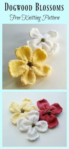 Dogwood Blossoms Free Knitting Pattern and Video Tutorial #Freepattern #Knitting