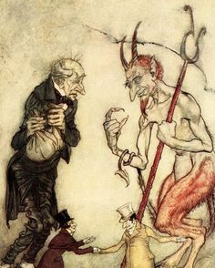 Charles Dickens 's 'A Christmas Carol'. Scrooge with the Third Spirit - the Ghost of Christmas Future. Illustration by Arthur Rackham, CD, English novelist: 7 February 1812 – 9 June Get premium, high resolution news photos at Getty Images Edmund Dulac, Arthur Rackham, Walter Crane, Harry Clarke, Westminster, Ying Y Yang, Les Fables, Classic Fairy Tales, Ecole Art