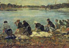 Eugene Boudin - Laveuses au bord de la Touques, 1896 at Royal Museums of Fine Arts of Belgium