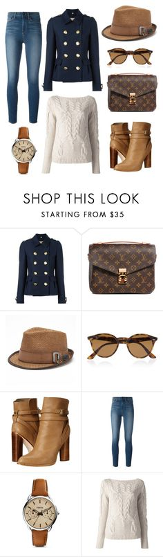 """""""7# Louis Vuitton Brown."""" by claudiacalero16 ❤ liked on Polyvore featuring Burberry, Louis Vuitton, Peter Grimm, Ray-Ban, Cynthia Vincent, Paige Denim, FOSSIL and Halston Heritage"""