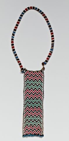 South Africa | Neckpiece with panel ~ 'Ulini' ~ from the North Nguni people | Glass and metal beads, cotton thread and plant fiber | ca. 1880 - 1905