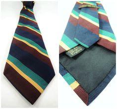 Vintage groen Marine Bourgondië Stripe Tie door MisterRoberts