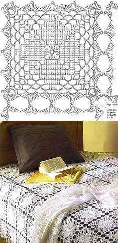 Нежное покрывало из ажурных квадратов | Искусница