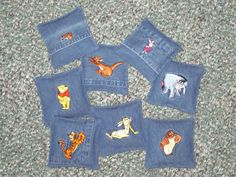 Beanbags made from an embroidered denim shirt