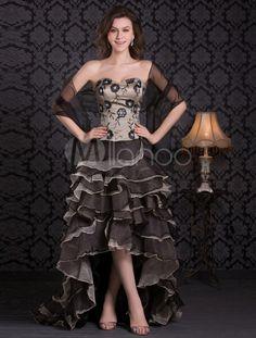 Modern Organza Applique Strapless Asymmetrical Prom Dress - Milanoo.com