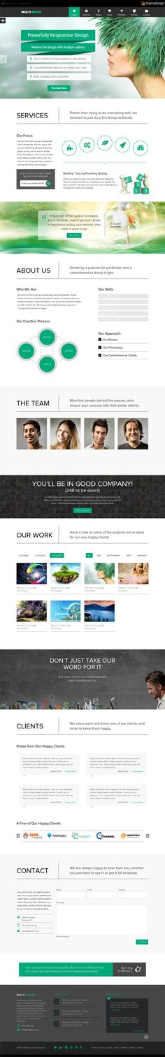 MultiFacet - Responsive One Page Template #flatdesign #responsivedesign