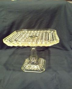 Vintage Yellow Square Vaseline Cake Stand / Petit Fours / Cookies / Candy