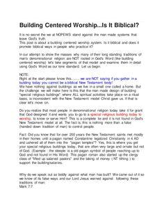 Building Centered Worship...Is It Biblical by spiritntruth via slideshare www.nopews.blogspot.com