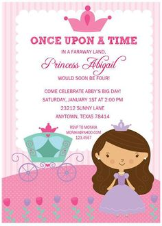Princess Birthday Party Invitations with FREE Return Address Labels