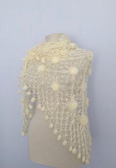 Handmade Crochet Soft Ivor Shawl-Free Shipping by CrochetChi