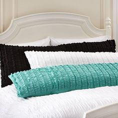 I love the Tuxedo Ruffle Body Pillow Cover on pbteen.com Reverses to smooth side without ruffles