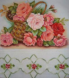 Artes em Crochê e Pintura: Cesta de rosas_Pintura e croche