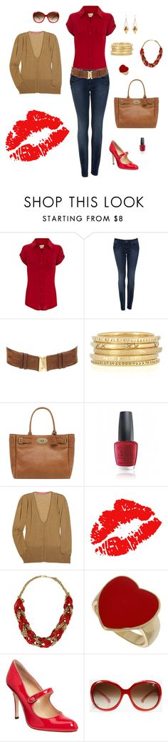 """Cherry Red"" by kateanfinson ❤ liked on Polyvore featuring Oasis, Miss Selfridge, Mathias Chaize, Mulberry, OPI, Emanuel Ungaro, Dorothy Perkins, Manolo Blahnik, D&G and skinny jeans"