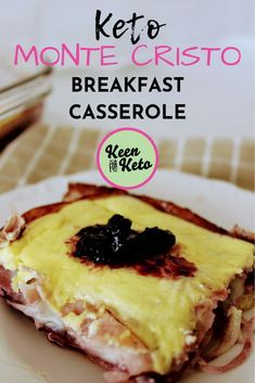 Keto Monte Cristo Breakfast Casserole is a breakfast version of the famous Monte Cristo sandwich. Youll love this low carb Monte Cristo breakfast casserole with layers of ham provolone cheese and raspberry jam Eggs And Sweet Potato, Low Carb Sweet Potato, Sweet Potato Breakfast, Keto Friendly Desserts, Low Carb Desserts, Low Carb Recipes, Protein Recipes, Ketogenic Recipes, Monte Cristo Sandwich