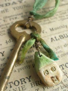 Cute House dangle of old Keys Under Lock And Key, Key Lock, Antique Keys, Vintage Keys, Pottery Houses, Old Keys, House Keys, Clay Houses, Key To Happiness