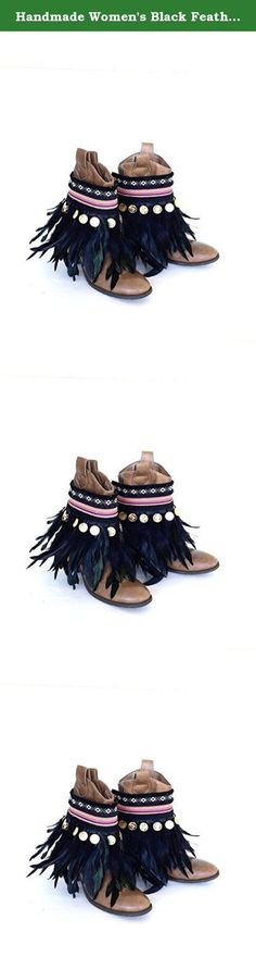 Handmade Women's Black Feather Boot Covers Bohemian Boot Cuffs Native American Boot Toppers Gypsy Ankle Boot Wraps Adjustable. You will receive a PAIR of the feather boot wraps. Boots are NOT included in your purchase. Dress up your plain boots with these lovely Bohemian boot accessories. They are guaranteed to give your boots an instant stylish look. These lovely boot accessories are made with real feathers, Bohemian ribbons, Coins and details. The boot cuffs close with black ties on the...