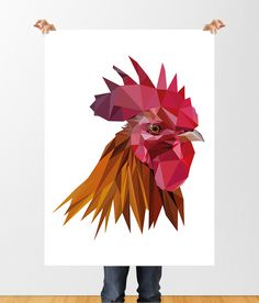 Rooster Low Poly Printable Art, Cockerel Print, Chinese New Year, Year of the Rooster Printable, Geometric Poster, Bird Polygonal, Lowpoly by tothewoodside on Etsy