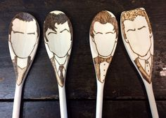 Doctor Who Wooden Spoons 9th 10th 11th by TreehouseIllustrator