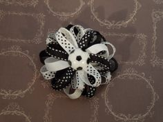 Soccer Hair Bow Black & White Hair Clip by SewCuteBoutiqueBow, $5.95