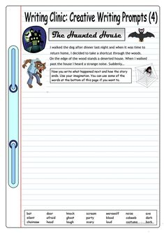 Creative writing games writing clinic creative writing prompts 4 the haunted house worksheets creative writing games . Halloween Writing Prompts, Narrative Writing Prompts, Writing Prompts 2nd Grade, Kindergarten Writing Prompts, Writing Prompts For Writers, Picture Writing Prompts, Writing Activities, Writing Ideas, Writing Games
