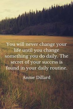You will never change your life until you change something you do daily. The secret of your success is found in your daily routine. Annie Dillard, American author (1945 - )