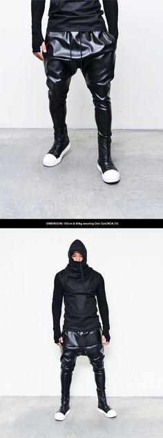 Mens Fashion Full Faux Leather Drop Baggy Sweatpants By Guylook.com