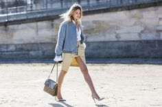Camille Charrière wearing the Jimmy Choo TILLY pump at PFW.