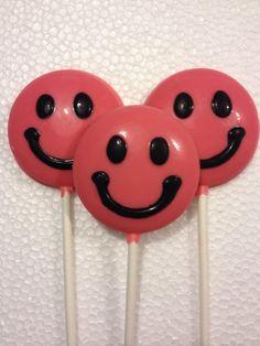 24 SMILEY FACE Chocolate Lollipop Party Favors by TrishZDelishZ, $33.00