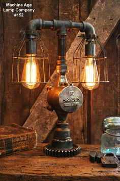 Steampunk Lamp, Antique Industrial Pipe and Brass - #152