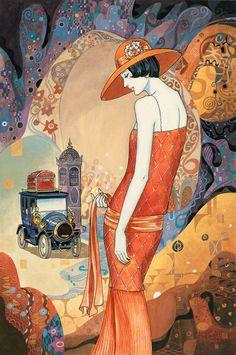 Helena Lam Deco Inspired Paintings  artodyssey1.blogspot.ca ... I love this vintage print