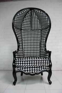 "Houndstooth Balloon Chair from the ModShop at Room Service $1995 64"" Tall / 32"" Wide / 23"" Seat Depth / 23"" Seat Height / 30"" Deep"